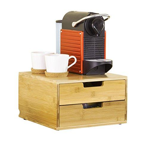 SoBuy Coffee Machine Stand & Coffee Pod Capsule Teabags Box Holder Organizer with 2 Drawers, Bamboo, FRG82-N