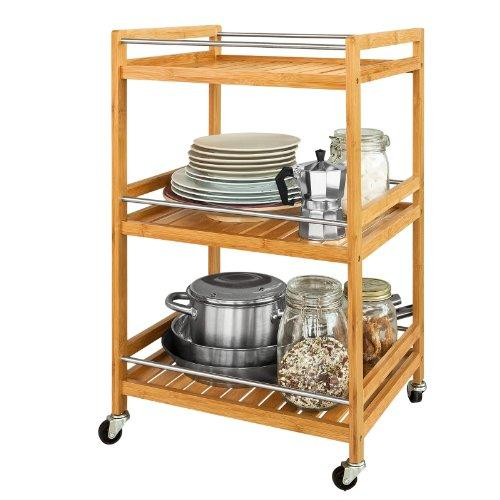 SoBuy Kitchen Serving Trolley, Cupboard with Casters, Kitchen Storage Serving Cart, L46xW38xH76cm, Bamboo, FKW11-N