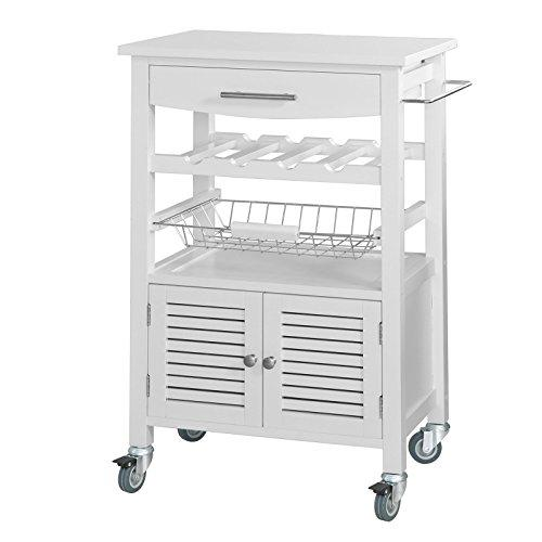 SoBuy® FKW09-W, Kitchen Serving Trolley, Kitchen Storage Trolley Cart with Cabinet, White