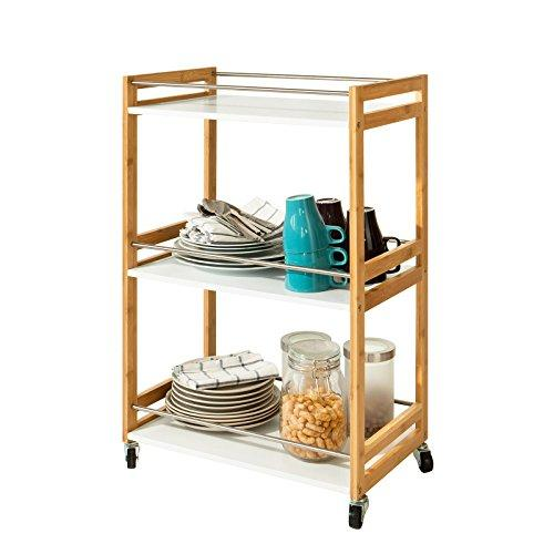 SoBuy® FKW32-WN, Bamboo+MDF 3 Shelves Kitchen Serving Storage Trolley Cart Bathroom Shelf, L51xW30xH81cm, White+Nature