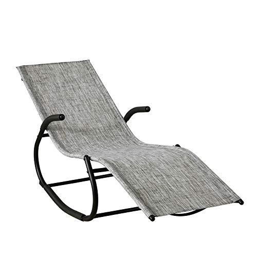 SoBuy® OGS41-MS, Outdoor Garden Rocking Chair Relaxing Chair Recliner Lounge Chair Sun Lounger