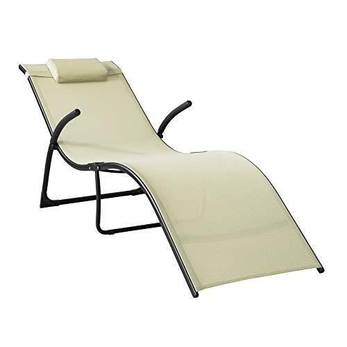 SoBuy® OGS45-MI, Foldable Sun Lounger, Reclined Chair Seat, Folding Garden Patio Beach Chair, Beige
