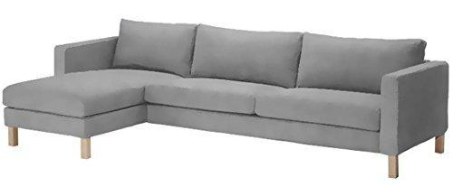 Sofa cover only! Dense Cotton Karlstad Three Seat Sofa and Chaise Lounge Cover Replacement. Width: 282CM, Not 244CM! Ikea Karlstad Slipcover. Sofa Cover Only! (Light Gray)