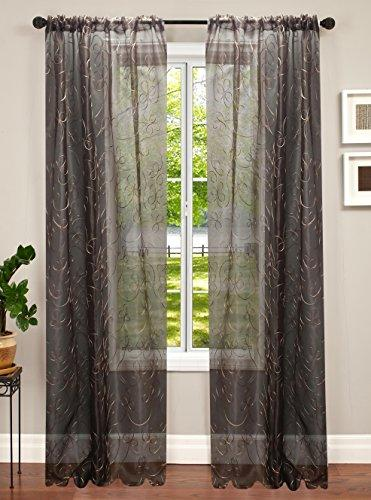 Softline Home Fashions Inc Celine Synthetic Rod Pocket Curtain Single Panel Chocolate