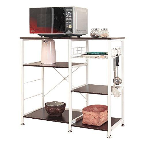 soges Kitchen Baker's Rack Utility Microwave Oven Stand Storage Cart Workstation Shelf with Basket Large Size, Black W5S-BK
