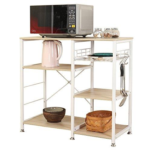 soges Kitchen Baker's Rack Utility Microwave Oven Stand Storage Cart Workstation Shelf with Basket Large Size, W5S-MP White Maple
