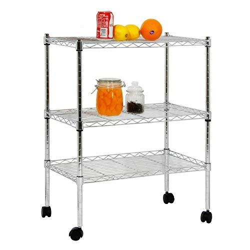 soges Kitchen Shelf with Wheels, Sturdy Rolling Cart/Shelving Unit/Storage Shelf/Trolley/Units for Kitchen, Home, Office, Bathroom KS-ZSCS-01
