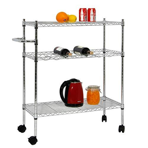 soges Kitchen Shelf with Wheels,Food Storage Wire Shelving Cart with Handle Sturdy Rolling Cart/Shelving Unit/Storage Shelf/Trolley/Units for Kitchen, Home, Office, Bathroom KS-ZSCS-05