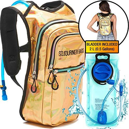 SoJourner Bags Rave Hydration Pack Backpack - 2L Water Bladder Included For Festivals, Raves, Hiking, Biking, Climbing, Running And More One Size Holographic - Gold