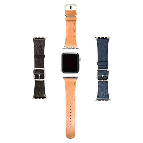 Sol Accessories Set of 3 Genuine Leather Wrist Band Replacement Straps 38mm/42mm with Stainless Steel Buckle Clasp compatible with Apple iWatch Series 1, 2 & 3 (3 Pack - 42mm, multi)