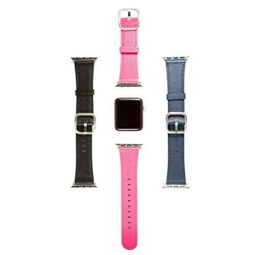 Sol Accessories Set of 3 Genuine Leather Wrist Bands Replacement Straps with Stainless Steel Buckle Clasp compatible with Apple iWatch Series 1, 2 & 3 (3 Pack - 38mm, multi)