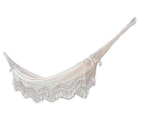 Sol Lving Cotton Close Weave and Crochet Hammock, Durable Swing Bed, Comfortable Hanging Bed, Lightweight Portable Traveling Cotton Hammock (Crochet Hammock)