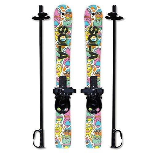 SOLA Winnter Sports Kid's Beginner Snow Skis and Poles With Bindings Age 2-4 (Gaggle)