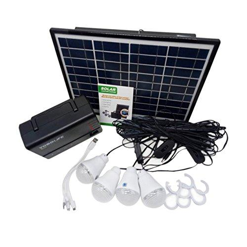 Solar Panel Power Storage Generator with LED Light Bulb USB Charger