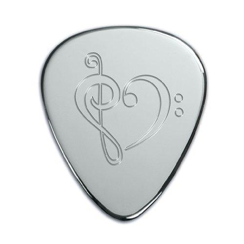 SOLID SILVER PLECTRUM Guitar Pick with Musical Heart design. Personalised/Engraved Free - complete with gift box
