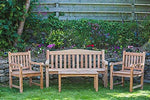 Solid Teak Garden Furniture Set Victoria Garden Bench, Fixed Garden Arm Chairs and Rectangular Coffee Table