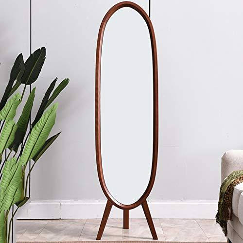 Solid Wood Full Body Fitting Mirror Multi-function Home Simple Modern Small Apartment Floor Mirror floor mirror (color : BROWN)