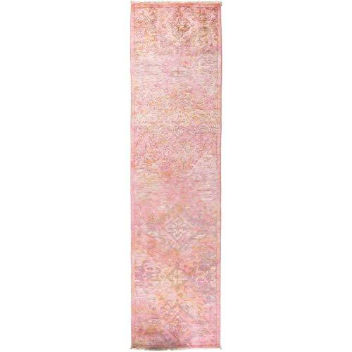 "Solo Rugs Hand Knotted Runner Rug, Wool Rose, 2' 7"" x 10' 3"""
