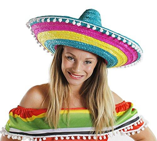 SOMBRERO MULTI COLOUR MENS LADIES MEXICAN FANCY DRESS ACCESSORY HAT WITH POM POM EDGING BULK (PACK OF 12)