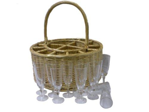 Somerset Levels Wicker Celebration Basket With Champagne Glasses