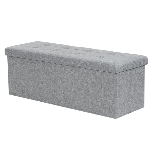 SONGMICS 110 x 38 x 38 cm Large Folding Storage Ottoman Box Toy Chest and Footstools Chestin Light Grey Linen Fabric LSF80GYX