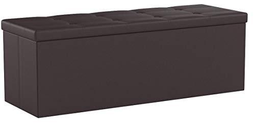 SONGMICS 110 x 38 x 38 cm Large Storage Ottoman Toy Chest Max Load 300 kg Brown LSF703
