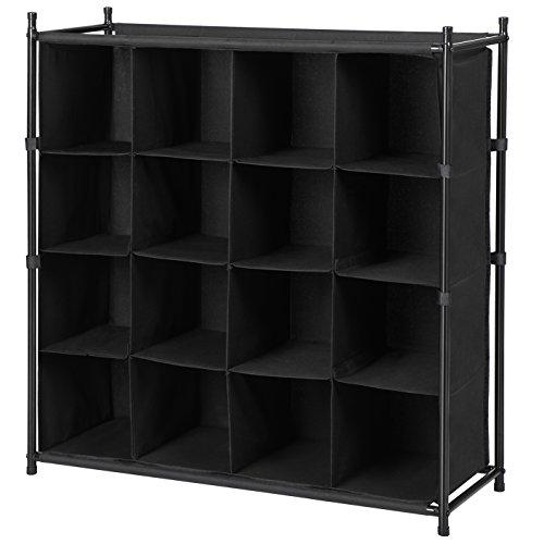 SONGMICS 16 Compartments Shoe Rack Metal Tube Frame 600D Polyester Black 91 x 33.2 x 96 cm (W x D x H) LMR16B