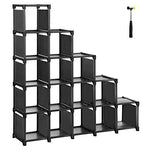 SONGMICS 16-Cube Shoe Rack, DIY Modular Storage Shelves, Bookshelf Toy Rack, Display Cabinet and Closet Organiser Unit, Includes Rubber Mallet, Black LSN44BK