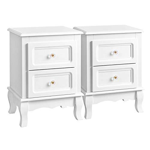 SONGMICS 2 Bedside Tables, White Beside Cabinet with 2 Drawers, Wooden Night Stands with Solid Pine Wood Legs, Spacious Storage RDN012