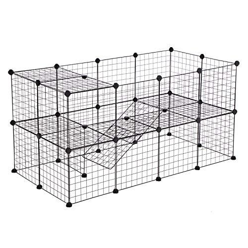 SONGMICS 2 Floors Customisable Pet Playpen Run Cage Enclosure Crate for Small Animals Guinea Pigs Includes Rubber Mallet Indoor Use 143 x 73 x 71 cm (W x D x H) Black LPI02H