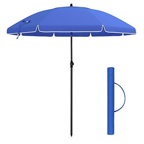 SONGMICS 2 m Arc Diameter Parasol, Beach Umbrella, Sun Protection, Octagonal Canopy, Tilt Mechanism, Air Vent, Carry Bag, for Beach, Gardens, Balcony and Pool, Blue GPU65BU (Base Not Included)