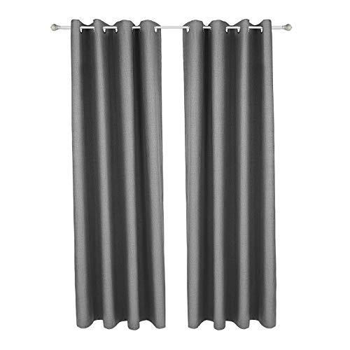 SONGMICS 2 Panel Set Blackout Curtains, Thermal Insulated Window Darkening Drapes, Complete Light Blocking, Linenette Window Treatments with Solid Grommets, 145 x 245 cm, Grey LRB245GY-2