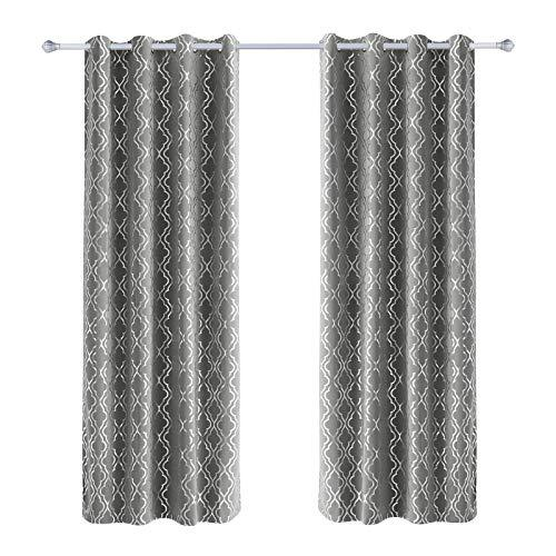 SONGMICS 2 Panel Set Blackout Curtains, Thermal Insulated Window Darkening Drapes, Hot Stamping Window Treatments with Solid Grommets, 145 x 245 cm, Set of 2 Pieces, Grey LRB245GS-2