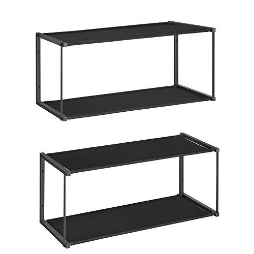 SONGMICS 2-Tier Shoe Rack Set of 2, Wall-Mounted Shoe Shelf, Metal Frame and Oxford Fabric, Space-Saving, for Hallway, Living Room, Bedroom, 71 x 28 x 30 cm, Black LSC22BK