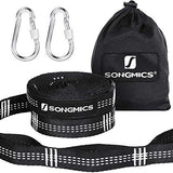 SONGMICS 2 x Hammock Hanging Tree Straps 3m Long, 16 Loops, Each with 2 Carabiners Holds Up to 300kg for Camping or Backyards GDC03BW