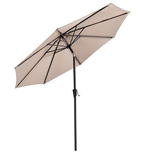 SONGMICS 3 m Parasol Umbrella, Sun Shade, Octagonal Polyester Canopy, with Tilt and Crank Mechanism, for Outdoor Gardens, Balcony and Patio, Taupe GPU30BR (Base Not Included)