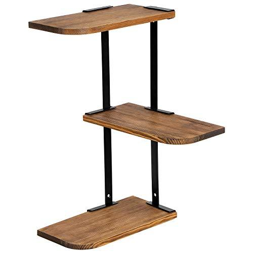 SONGMICS 3-Tier Corner Wall Shelf, Customisable Floating Mount, Rustic Solid Burned Wood and Metal, for Bedroom Living Room Study Kitchen, LSN04CB