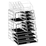 SONGMICS 4 in 1 XXL Makeup Organiser, Makeup Box with 11 Drawers and 15 Compartments in Different Sizes, Non-Slip Pads, for Cosmetics and Jewellery, Transparent JKA017TP