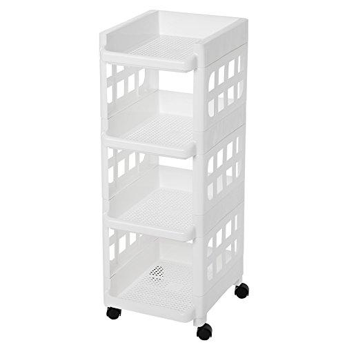 SONGMICS 4 Tier Plastic Rolling Cart PP Storage Trolley with Castors for Kitchen Bathroom Utility and Organisation Cart White KSC02WT