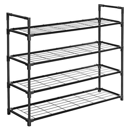 SONGMICS 4-Tier Shoe Rack, Metal Storage Shelves Hold up to 20 Pairs of Shoes, for Living Room, Entryway, Hallway and Cloakroom, 91.5 x 28.5 x 76 cm, Black LSM04BK