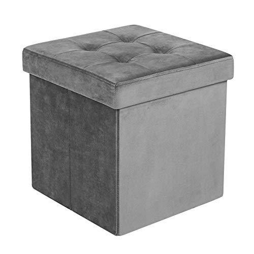 SONGMICS 40L Folding Storage Ottoman Bench, Upholstered Tufted Toy Chest, Velveteen, Grey LSF23GY