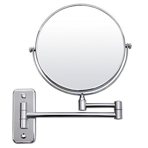 SONGMICS 5 Compartment + Normal Cosmetic Mirror, 8 Inch Make-up Mirror Shaving Mirror Folding Wall Mirror BBM513