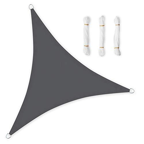 SONGMICS 5 x 5 x 5 m PES Garden Sun Shade Sail, Sun Protection, Waterproof and Weatherproof, Polyethylene, Triangle, Smoky Grey GSH50GY