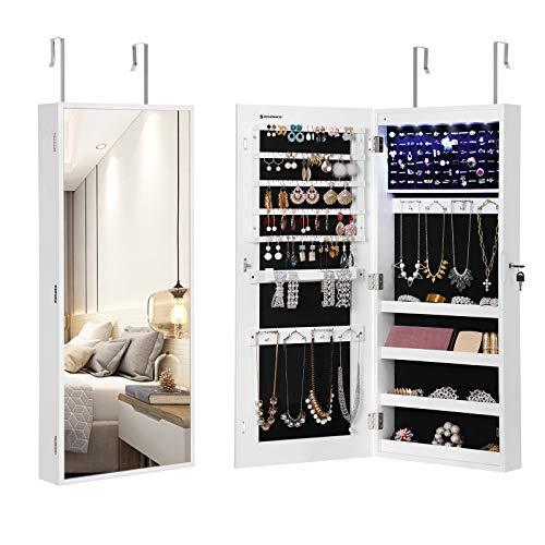 SONGMICS 6 LED Lights Jewelry Cabinet Armoire, Narrow Bezel Full Body Mirror Jewelry Organizer, Wall-Mounted and Door-Hanging, White UJJC65WT