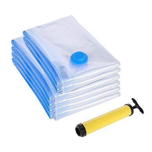 SONGMICS 6-Pack Space-saving Vacuum Compressed Storage Bag with Hand-Pump for Clothes and Beddings, 40 x 60 cm (2x), 60 x 80 cm (4x) RVM063