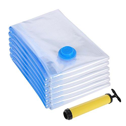 SONGMICS 6-Pack Space-saving Vacuum Compressed Storage Bag with Hand-Pump for Clothes and Beddings, 40 x 60 cm RVM060
