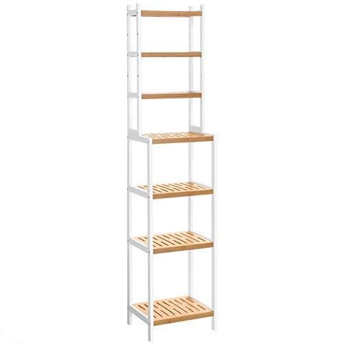 SONGMICS 7-Tier Bamboo Bathroom Shelf, Adjustable Storage Rack, Multifunctional Organiser, Shelving Unit for Washroom, Living Room, Kitchen, White and Natural BCR01WN