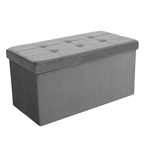 SONGMICS 80 L Folding Storage Ottoman Bench, upholstered Tufted Toy Chest, Velveteen Grey LSF43GY