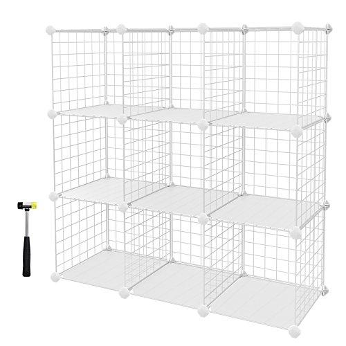 SONGMICS 9 Cubes Metal Wire Storage Rack, Interlocking Shelving Unit with Metal Wire Shelves and PP Plastic Sheets for Book Shoes Toys Clothes Tools, in Living Room Bathroom 93 x 31 x 93 cm LPI115W