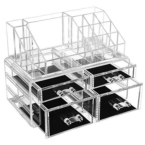 SONGMICS Acrylic Makeup Organiser, Cosmetic Jewellery Storage with 4 Clear Drawers, Display Boxes 2 Pieces Set, Transparent JKA005TP